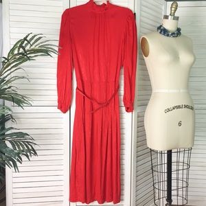 Vintage Brooks Brothers Red Silk Dress - Size 10